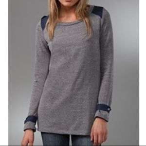 UO Splendid Long Sleeve Scoopneck Tee Gray M